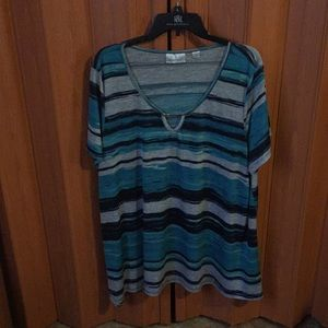 Avenue blue and gray striped tee